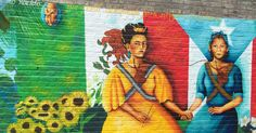 """'Nuyorican' goes beyond national identity politics and instead brings people together and creates a sense of solidarity among marginalized communities as they share a history of colonial oppression"" (Herrara 102); mural in Loisaida"