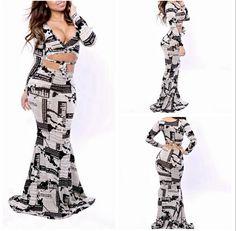Sexy Women Vestidos V-Neck Magazine Print Two Piece Long Sleeve Floor Length Celebrity Bodycon Bandage Maxi Dovetail Dress