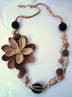 Asymmetrical crochet flower necklace shadows beige and brown, chocolate brown crochet jewelry, spring gift, strand necklace