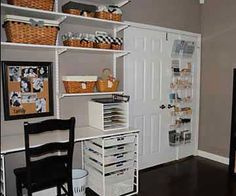 Three large doors in Irma's room made furniture selection a challenge. To maximize space, she decided to hang simple white shelves above the desk and use a basic black bookcase for supply storage. Now Irma can easily open all of the doors and the room looks neat and tidy./