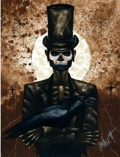 "Un barron Samedi tout en classe et élégance. Une oeuvre de ""The raven and the Baron Samedi face are striking"". Shadow Man a watercolor by Chad Savage, Más Baron Samedi, Voodoo Tattoo, Voodoo Magic, Papa Legba, Voodoo Hoodoo, Fete Halloween, Voodoo Halloween, Yoruba, Witch Doctor"