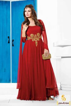 Embellished with resham works and fine embroidery works. The santoon and net fabrics made enhance the red party wear embroidered Anarkali Salwar Suit. #Dresses #EveningGown #BallGown #OnlineDresses