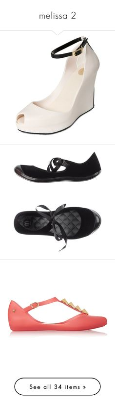"""melissa 2"" by renatareeh on Polyvore featuring shoes, peep toe wedge shoes, melissa shoes, peep-toe shoes, peep toe platform shoes, peep toe shoes, flats, black, flat shoes e black round toe flats"