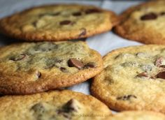 Best Thin & Crispy Chocolate Chip Cookies - These sinfully, delicious Perfect Thin & Crispy Chocolate Chip Cookies are exactly what they are! Perfect Thin & Crispy and you won't want to let these get out of your sight! Cookie Desserts, No Bake Desserts, Cookie Recipes, Cookie Favors, Dessert Recipes, Crispy Cookies, Gluten Free Chocolate Chip Cookies, Goody Recipe, Summer Cookies