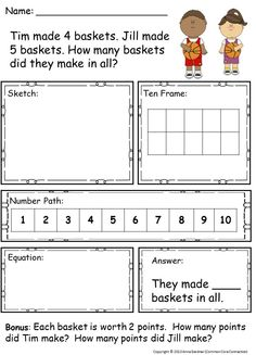 Read-Along, Sketch and Solve Addition and Subtraction Problems within Ten  ~ For enrichment, a bonus question is included with each problem.  Also available for Addition and Subtraction within Twenty. ($)