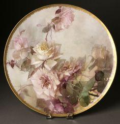 such subtle colors Antique Plates, Antique China, Vintage China, Decoupage, Hand Painted Plates, Decorative Plates, Porcelain Ceramics, Painted Porcelain, China Art