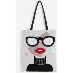 White Sequin Girl Cute Tote Bag (43 BAM) ❤ liked on Polyvore featuring bags, handbags, tote bags, white purse, tote hand bags, white tote bag, tote purses and white tote handbags