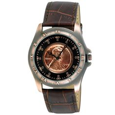 This sleek August Steiner watch is an ideal complement to a mans handsome look. Featuring a Sunry dial with genuine Wheat penny, this mens watch is an excellent addition to your coin collection. The watchs leather strap makes it comfortable to wear.