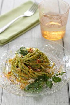 Ilmiciosazio: Spaghettoni con pesto di rucola e primosale