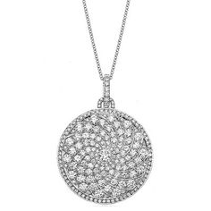 Graduating Diamond Curved Pave Disc Pendant Necklace, Anniversary Gifts for Women - Diamond Jewelry for Her - Wedding Jewellery, UK, USA, Canada, Vegas, Beverly Hills, New York, Texas, Swirl Jewelry, 3.80 carats! Raven Fine Jewelers