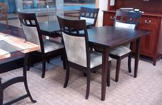 Oasis Dining Table with 4 Latitude Upholstered Chairs | Brown Maple with OCS230 Onyx Stain | 42in x 60in with two 12in self-store leaves
