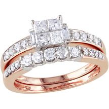Walmart: Miabella 1 Carat T.W. Princess, Baguette and Round-Cut Diamond 14 Carat Pink Gold Bridal Set
