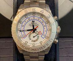 ROLEX Rolex Yacht-Master II - 116689 - Etat : Bon (Traces d'usure légères à visibles, rayures)  Année : 2011 Garantie : Vie Boitier : Or blanc Bracelet : Or blanc Rolex, Bracelet Or, Master, Luxury Watches, Accessories, White Gold, Clock Art, Stripes, Life