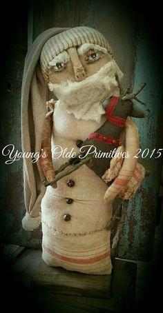 Primitive Standing Santa w/ Reindeer Winter Christmas #NaivePrimitive