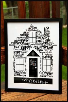 "Typography, House of Family, customizable, digital print, 11""x14"". $50.00, via Etsy."
