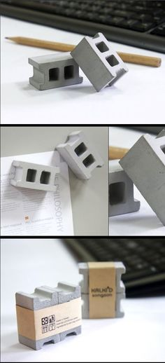 Add some fun to your wall or refrigerator with a strong set of magnets in the shape of Concrete Blocks. It's made of real cement to give it that raw and heavy l Concrete Cement, Concrete Crafts, Concrete Projects, Concrete Design, Concrete Blocks, Diy Projects, Diy Inspiration, Interior Inspiration, Beton Design
