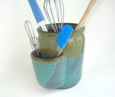 Pottery utensil holder with pocket Teal stoneware by ClaybyStacia, $45.00