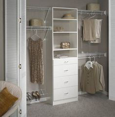 reach in closet organizer hanging sections drawer system upper shelves and footwear rack at base of Small Closet Organizers: Small Storage Solution for Apartment-Sized Houses