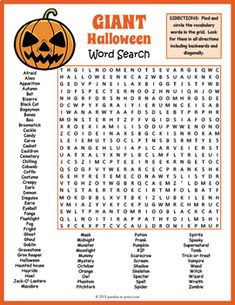 GIANT Halloween Word Search by Puzzles to Print | TpT Halloween Word Search, Halloween Words, Halloween Coloring, Holidays Halloween, Halloween Cupcakes, Fall Coloring, Halloween Designs, Halloween Vocabulary, School