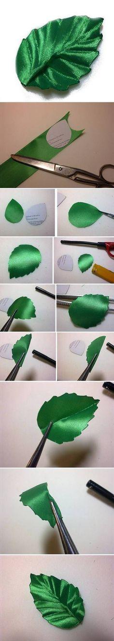 Folha de Fita // DIY Ribbon Leaf