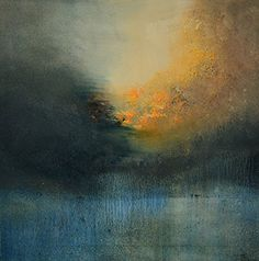 """Solitude (Print - 12x12 in.). """"Solitude"""" captures the moment when day transpires into night, The warm golden sunlight is surrounded by the cool blue of evening, depicting the moment when day becomes night. Texture of the pigment adds to the impact of the image, The subtle blending dep."""