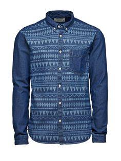 Flon Shirt, Dark Blue Denim, large Casual Shirts For Men, Men Casual, Denim Shirt, Denim Jeans, Mens Fashion, Fashion Outfits, Collar Shirts, Stylish Men, Types Of Fashion Styles