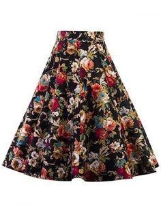 RoseGal.com - RoseGal High Waist Floral Midi Pleated Skirt - AdoreWe.com