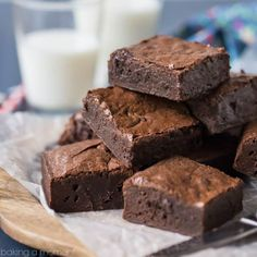 The fudgiest, gooiest brownies, with the deepest, darkest, most intense chocolate flavor EVER! From scratch, pantry staples, just one bowl, no mixer needed.