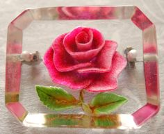 "Vintage Lucite pin with a rose carved then painted into the back ""Stunning"""