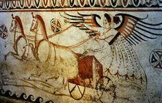 Ancient Lucanian Tomb Fresco (350-320 BC) from the Paestum Archaeological Museum, Italy.