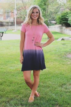 Rose Dip Dyed Short Sleeve Round Neck T-shirt Dress – UOIOnline.com: Women's Clothing Boutique