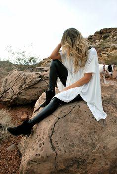 .flowy top, faux leather leggings, tasseled boots