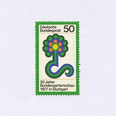 25 Jahre Bundesgartenschau in Stuttgart (50). Germany, 1977. Design: Otto Rieger. #mnh #graphilately