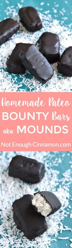 Easy Homemade Vegan and Paleo Bounty Bars, refined sugar free and dairy free recipe.