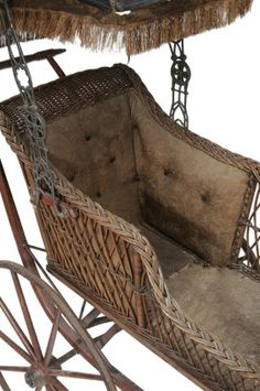 Antique Baby Buggy Carriage Wicker Wooden Iron Wheels 1800