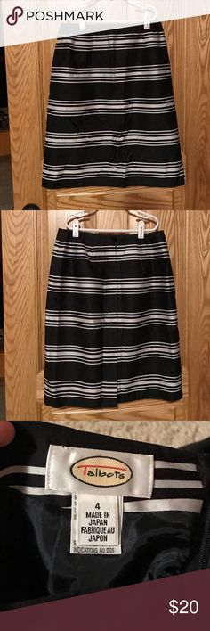 Talbots stripped skirt Never worn! Thin with zipper in the back. Has a small slit in the back middle of the skirt Talbots Skirts Midi