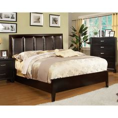 @Overstock - Rafael Contemporary Leatherette Queen Size Bed - Professionally constructed with hardwood quality, and luxurious leatherette headboard, this bed will definitely add a contemporary touch to any bedroom. A sleek espresso finish and tapered legs complete this bed.    http://www.overstock.com/Home-Garden/Rafael-Contemporary-Leatherette-Queen-Size-Bed/7739560/product.html?CID=214117  $467.09