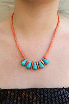 """Coral and Turquoise Necklace / Semi-Precious Stones, Pink Shell, Turquoise Blue Howlite Teardrops / """"IBIS"""""""