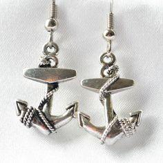 Antiqued silver anchor dangle earrings by JooniebeadsTreasures, $15.00
