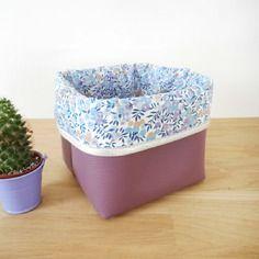 Panier de rangement petit modèle - simili cuir violet et tissu liberty wiltshire lilas