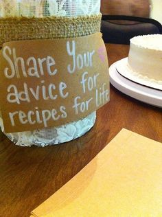 Share your advice for recipes for life! Rustic Wedding Showers, Drink Sleeves, Bridal Shower, Advice, Recipes, Life, Ideas, Shower Party, Tips
