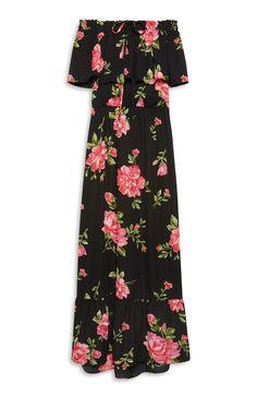 Primark - Black Floral Print Bardot Maxi Dress