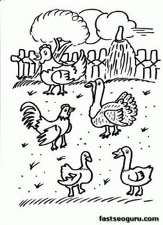 Farm chickens coloring page