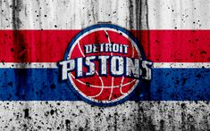 Download wallpapers 4k, Detroit Pistons, white background, NBA, grunge, basketball club, Eastern Conference, USA, emblem, The Pistons, stone texture, basketball, Central Division