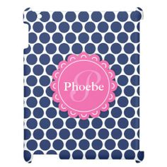 Pink Modern Flower Monogram Blue Polka Dot Pattern Cover For The iPad 2 3 4 in each seller & make purchase online for cheap. Choose the best price and best promotion as you thing Secure Checkout you can trust Buy bestThis Deals          	Pink Modern Flower Monogram Blue Polka Dot Patt...