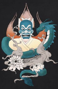 Blue Spirit tattoo from Avatar: The Last Airbender