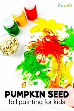 Use pumpkin seeds as a paintbrush in this fun fall art activity for preschool! It's perfect for after Halloween when you have lots of pumpkin seeds left over. Fun process art with an autumn theme! Fall Preschool Activities, Painting Activities, Halloween Activities For Kids, Preschool Crafts, Autumn Painting, Painting For Kids, Toddler Crafts, Crafts For Kids, Enchanted Learning