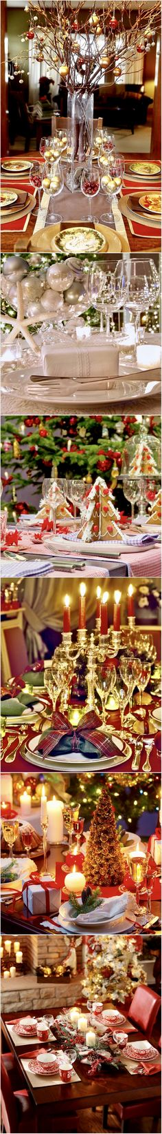 Christmas Table Decorations and Centerpiece Ideas #tablescapes