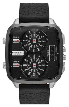 DIESEL® 'SBA' Dual Movement Square Leather Strap Watch, 45mm available at #Nordstrom