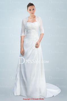 Solemn Column Wedding Dress with Excellent Additional Jacket
